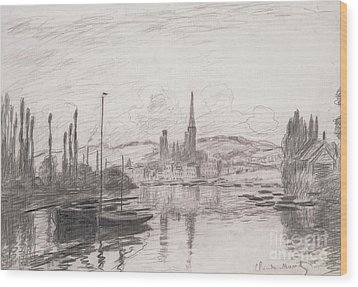 View Of Rouen Wood Print by Claude Monet
