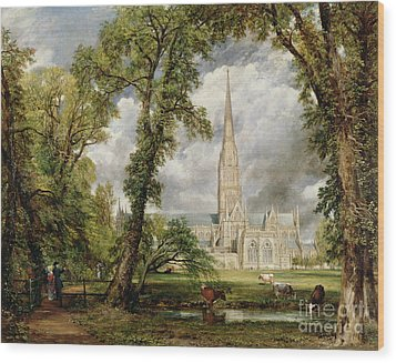 View Of Salisbury Cathedral From The Bishop's Grounds Wood Print by John Constable