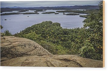 View Of Squam Lake From Rattlesnake Mountain Wood Print by Karen Stephenson