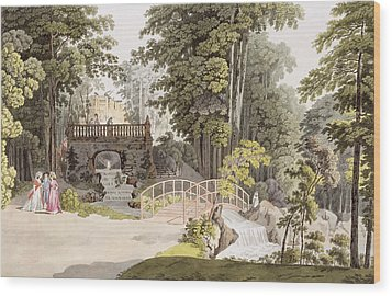 View Of The Cascade At Erlaw, Vienna Wood Print by Laurenz Janscha