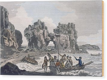View Of The Castle Rock Wood Print by J. & Ibbetson, J.C. Hassell