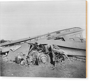 View Of The Great Railroad Wreck Wood Print by Everett
