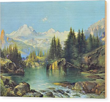 View Of The Rocky Mountains Wood Print by Susan Leggett