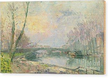 View Of The Seine Paris Wood Print by Albert Charles Lebourg