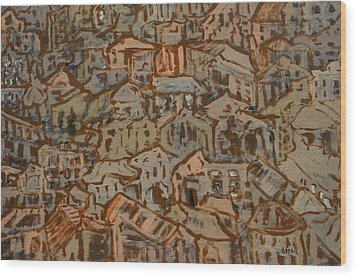 View Of The Town Wood Print by Oscar Penalber