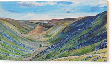 View Of Troutbeck From Stony Cove Pike The Lake District Wood Print by Robina Osbourne