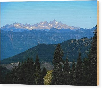 View Of Twin Sisters From Sauk Mountain Wood Print by Karen Molenaar Terrell