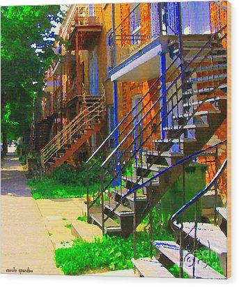 View Of Verdun Steps Stairs Staircases Winding Through Summer  Montrealstreet Scenes Carole Spandau Wood Print by Carole Spandau