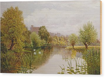 View Of Windsor From The Thames Wood Print by John Atkinson