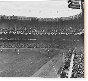 View Of Yankee Stadium Wood Print by Underwood Archives