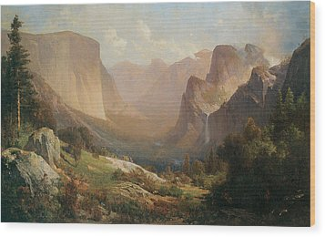 View Of Yosemite Valley Wood Print by Thomas Hill
