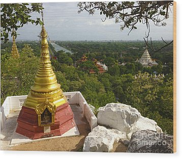 Wood Print featuring the photograph View Over Ancient City Of Mandalay Aungmyaythazan From Mandalay Hill Mandalay Burma by Ralph A  Ledergerber-Photography