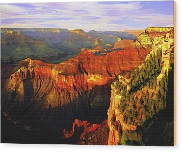 View - Yavapai Point Wood Print by Bob and Nadine Johnston