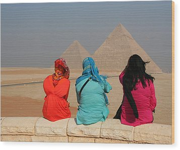 Wood Print featuring the photograph Viewing The Pyramids by Laurel Talabere