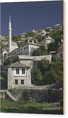 views of pocitelj in Bosnia Hercegovina with minaret bridge and river Wood Print
