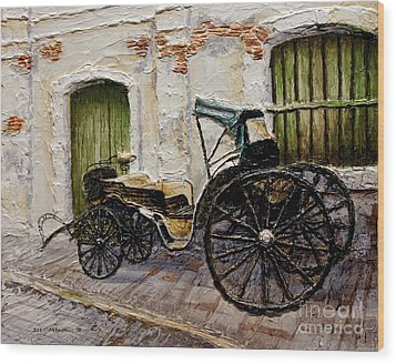 Wood Print featuring the painting Vigan Carriage 2 by Joey Agbayani