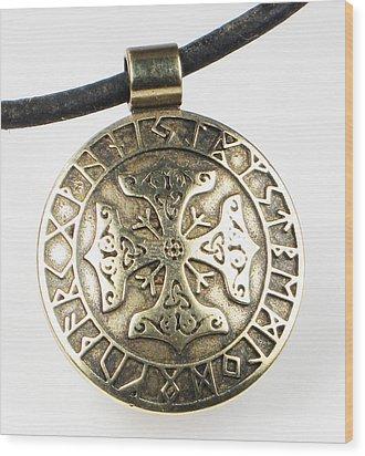 Wood Print featuring the jewelry Viking Celtic Cross With Rune Calendar by Vagabond Folk Art - Virginia Vivier