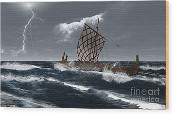 Viking Longship In A Storm Wood Print by Fairy Fantasies
