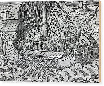 Viking Ship Wood Print by German School