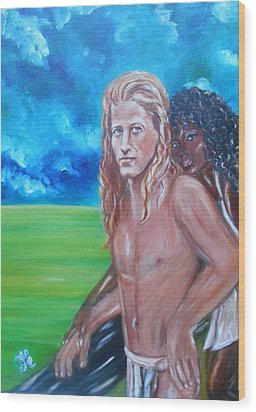 Vikings In America B.h.  - Interracial Lovers Series Wood Print