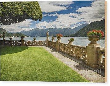 Villa Garden View On Lake Como Wood Print by George Oze