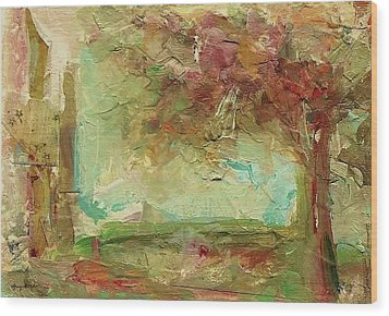 Wood Print featuring the painting Villa by Mary Wolf