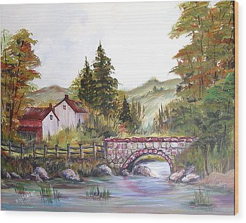 Wood Print featuring the painting Village Bridge by Dorothy Maier