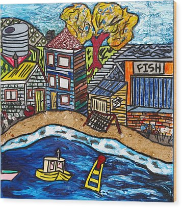 Village By The Sea Wood Print