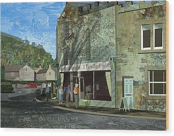 Village Cafe Wood Print by Kenneth North
