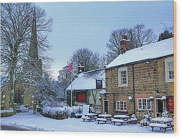 Village Church And Pub Wood Print by David Birchall