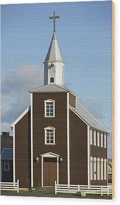 Village Church Of Eyrarbakki Wood Print by Michael Thornton