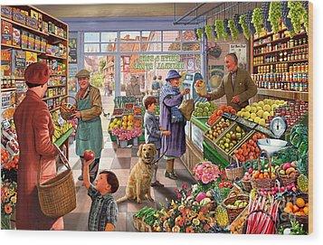 Village Greengrocer  Wood Print by Steve Crisp