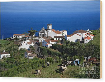 Village In Azores Islands Wood Print by Gaspar Avila