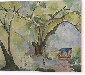 Wood Print featuring the painting Village In India by Geeta Biswas