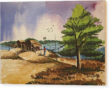 Village Landscape Of Bangladesh 2 Wood Print by Shakhenabat Kasana