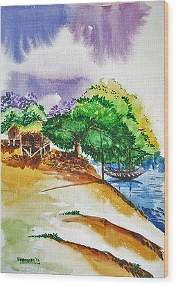 Village Landscape Of Bangladesh 3 Wood Print by Shakhenabat Kasana