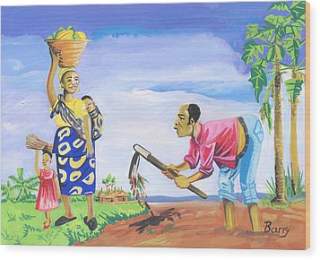 Wood Print featuring the painting Village Life In Cameroon 01 by Emmanuel Baliyanga