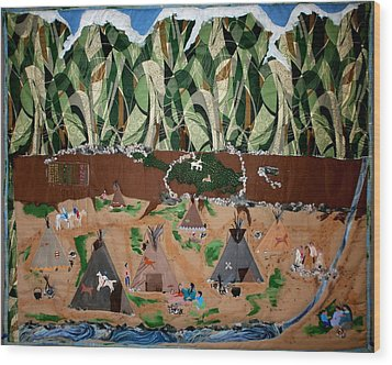 Village Life Wood Print by Linda Egland