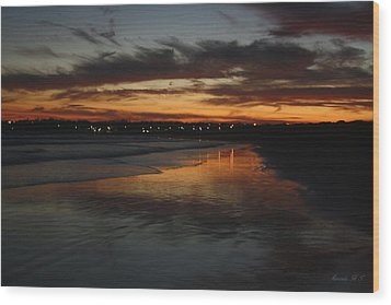 Wood Print featuring the photograph Village Lights At Sunset by Amanda Holmes Tzafrir