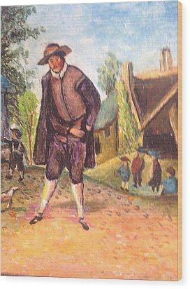 Wood Print featuring the painting Village Man  by Egidio Graziani