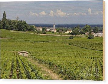 Village Of Aloxe Corton. Cote D'or. Burgundy. France Wood Print by Bernard Jaubert