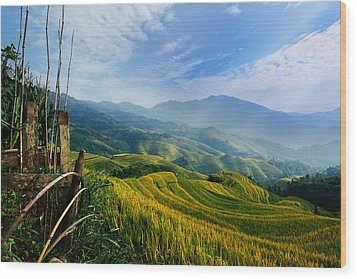 Wood Print featuring the photograph Village Of Mist 11 by Afrison Ma