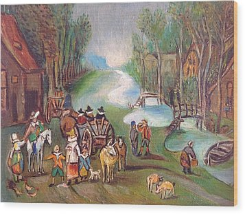 Village Scene Wood Print by Egidio Graziani