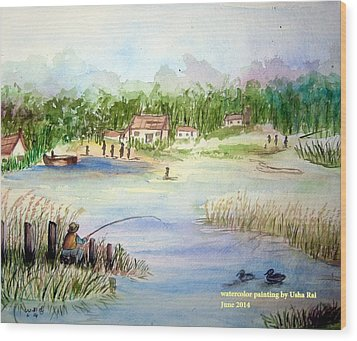 Village Scene Wood Print by Usha Rai