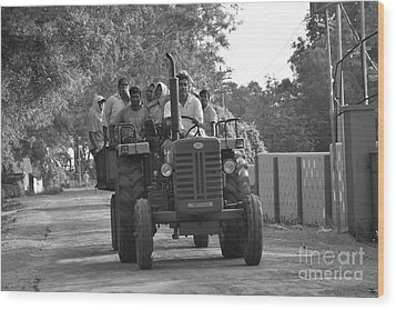 Village Tractor  Wood Print by Bobby Mandal