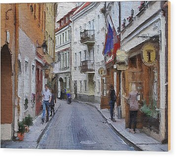 Vilnius Old Town 37 Wood Print by Yury Malkov