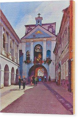 Vilnius Old Town Golden Gate 1 Wood Print by Yury Malkov
