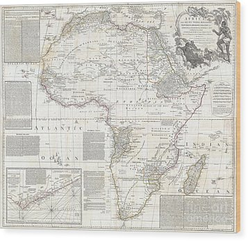 Vinatge Old World Map Of Africa Wood Print by Inspired Nature Photography Fine Art Photography