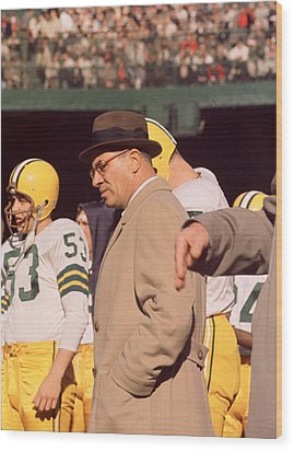 Vince Lombardi In Trench Coat Wood Print by Retro Images Archive