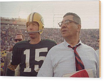 Vince Lombardi With Bart Starr Wood Print by Retro Images Archive